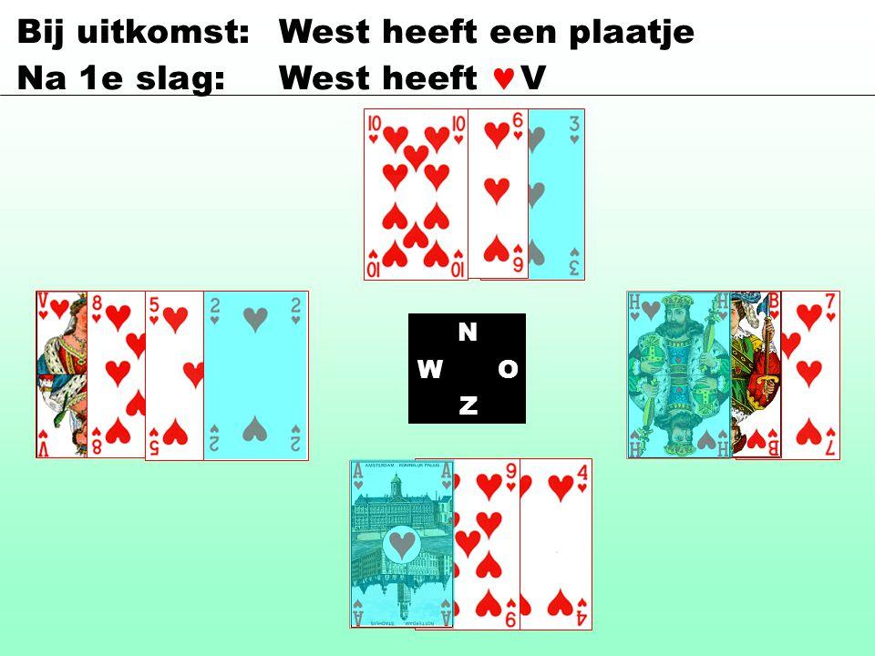 Bij uitkomst: West heeft een plaatje Na 1e slag:West heeft V N WO Z