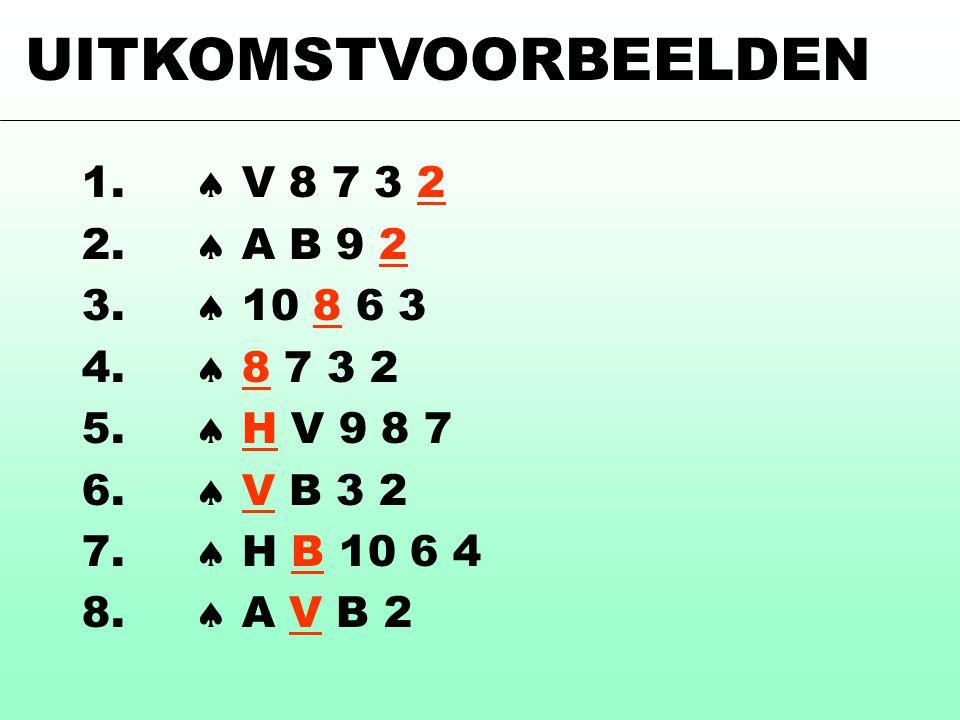 1.  V 8 7 3 2 2.  A B 9 2 3.  10 8 6 3 4.  8 7 3 2 5.  H V 9 8 7 6.  V B 3 2 7.  H B 10 6 4 8.  A V B 2 UITKOMSTVOORBEELDEN