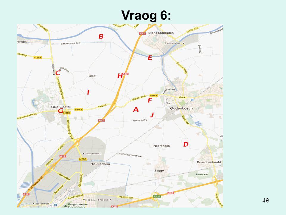 49 Vraog 6: Kaort van Gastel Zet de sjuuste letter bij het nummer .