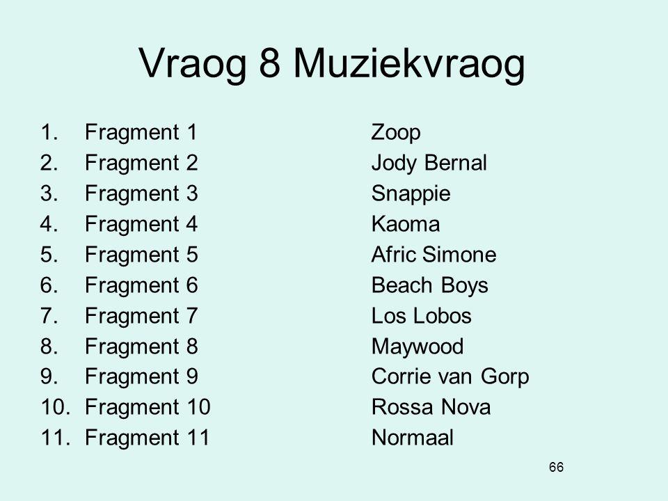 66 Vraog 8 Muziekvraog 1. Fragment 1Zoop 2. Fragment 2Jody Bernal 3. Fragment 3Snappie 4. Fragment 4Kaoma 5. Fragment 5Afric Simone 6. Fragment 6Beach