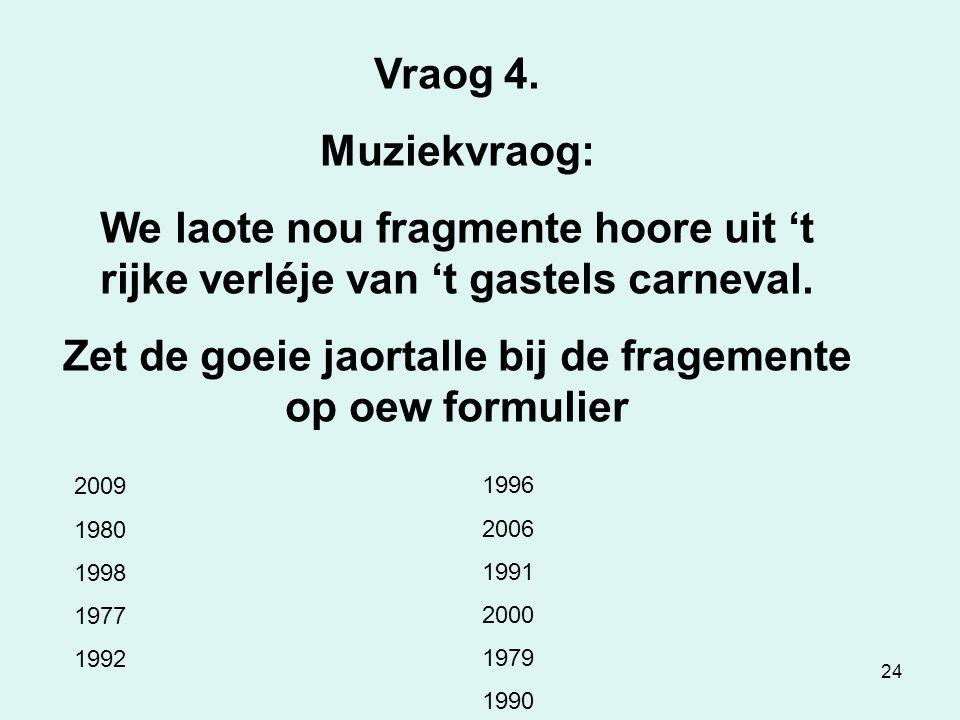 24 Vraog 4.Muziekvraog: We laote nou fragmente hoore uit 't rijke verléje van 't gastels carneval.
