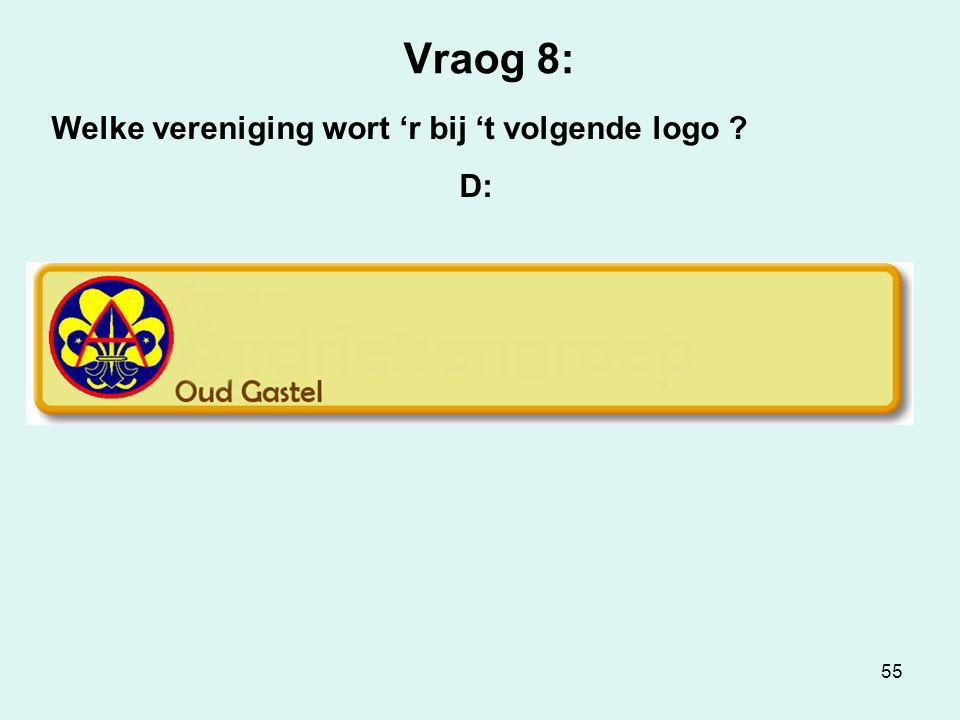 55 Vraog 8: Welke vereniging wort 'r bij 't volgende logo ? D: