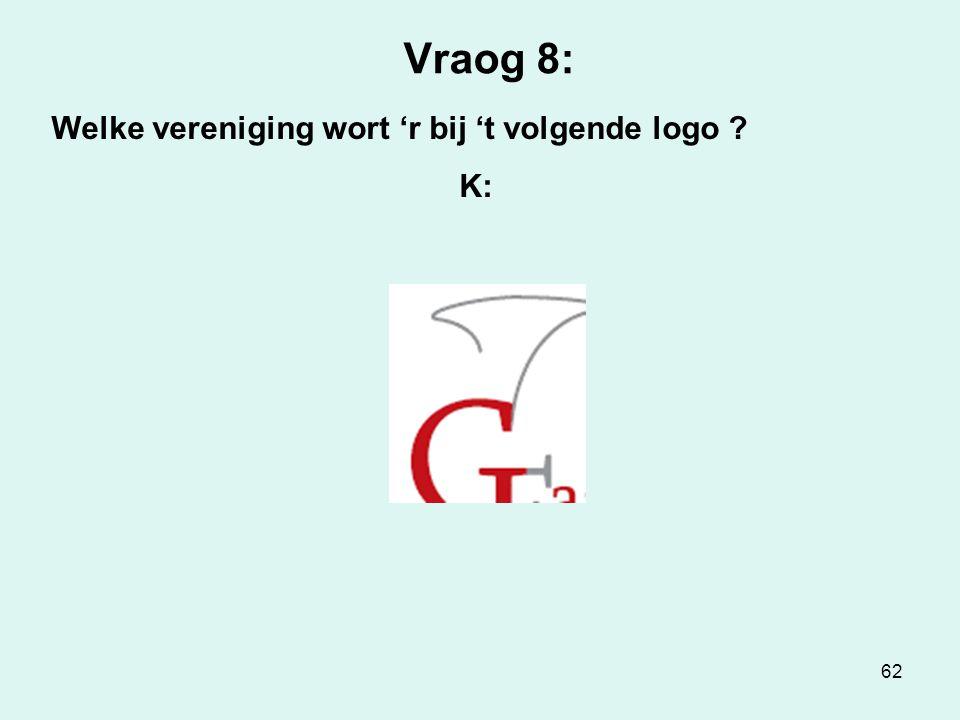 62 Vraog 8: Welke vereniging wort 'r bij 't volgende logo ? K:
