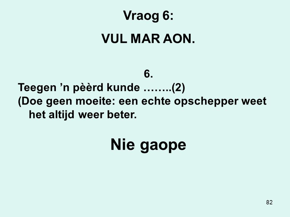 82 Vraog 6: VUL MAR AON. 6.