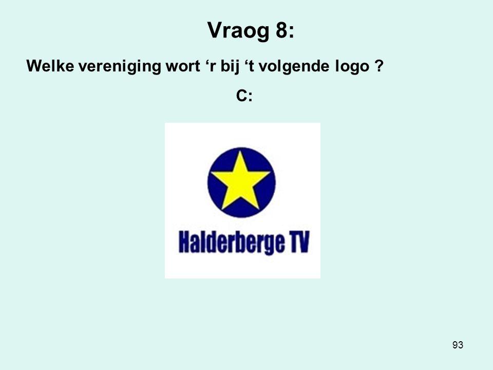 93 Vraog 8: Welke vereniging wort 'r bij 't volgende logo ? C: