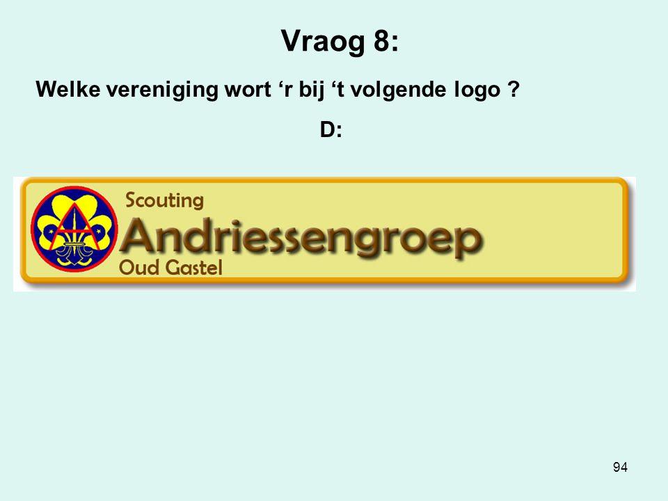 94 Vraog 8: Welke vereniging wort 'r bij 't volgende logo ? D: