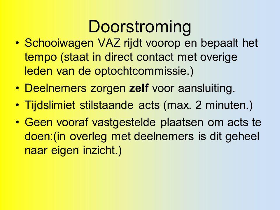 Doorstroming Schooiwagen VAZ rijdt voorop en bepaalt het tempo (staat in direct contact met overige leden van de optochtcommissie.) Deelnemers zorgen zelf voor aansluiting.