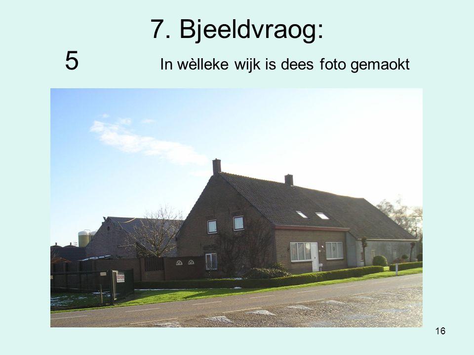 16 7. Bjeeldvraog: 5 In wèlleke wijk is dees foto gemaokt