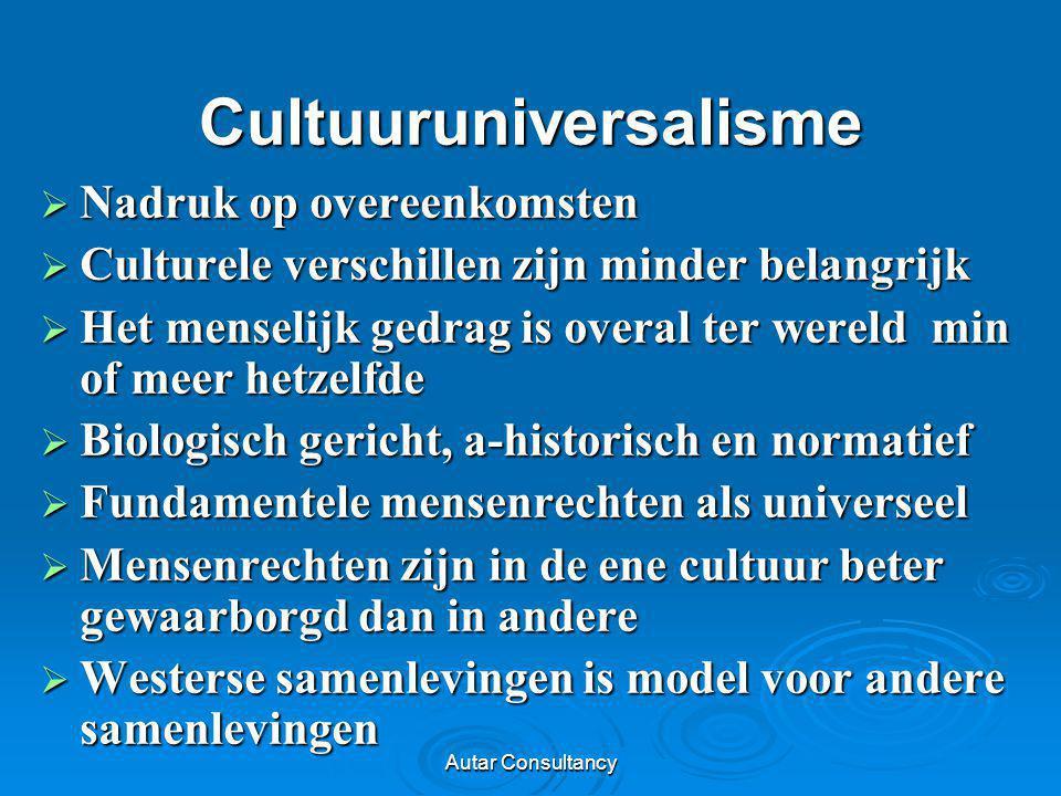 Autar Consultancy Cultuuruniversalisme  Nadruk op overeenkomsten  Culturele verschillen zijn minder belangrijk  Het menselijk gedrag is overal ter
