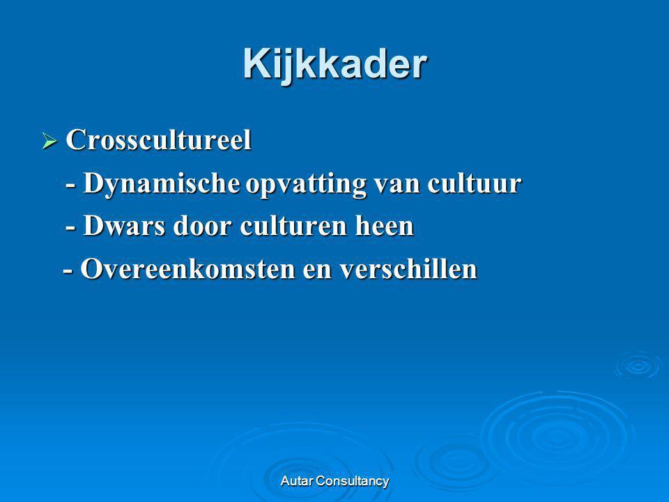 Autar Consultancy Kijkkader  Crosscultureel - Dynamische opvatting van cultuur - Dwars door culturen heen - Overeenkomsten en verschillen - Overeenko