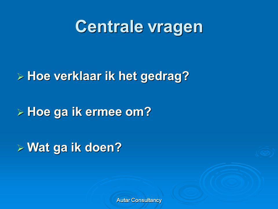 Autar Consultancy Centrale vragen  Hoe verklaar ik het gedrag?  Hoe ga ik ermee om?  Wat ga ik doen?