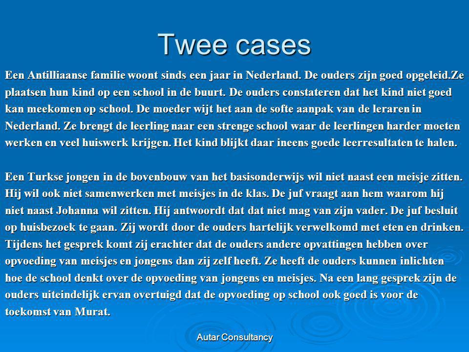 Twee cases Een Antilliaanse familie woont sinds een jaar in Nederland. De ouders zijn goed opgeleid.Ze plaatsen hun kind op een school in de buurt. De
