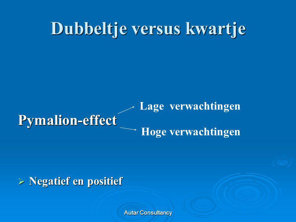 Autar Consultancy Dubbeltje versus kwartje Pymalion-effect  Negatief en positief Lage verwachtingen Hoge verwachtingen