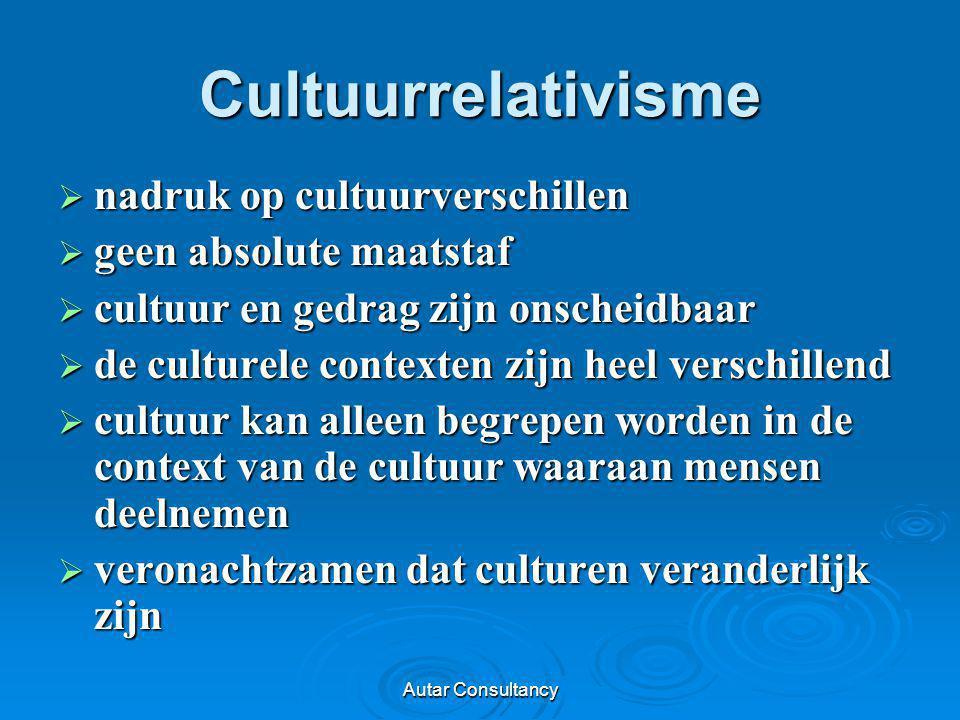 Autar Consultancy Cultuurrelativisme  nadruk op cultuurverschillen  geen absolute maatstaf  cultuur en gedrag zijn onscheidbaar  de culturele cont