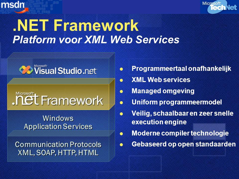 .NET Framework Platform voor XML Web Services Programmeertaal onafhankelijk XML Web services Managed omgeving Uniform programmeermodel Veilig, schaalbaar en zeer snelle execution engine Moderne compiler technologie Gebaseerd op open standaarden Communication Protocols XML, SOAP, HTTP, HTML Windows Application Services