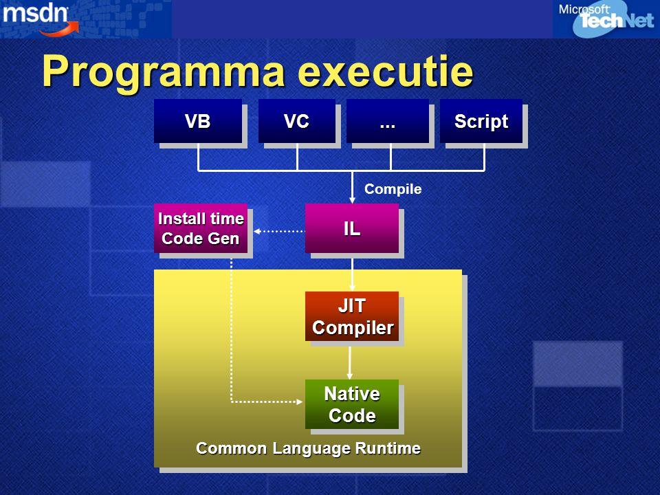 Programma executie VBVBVCVC......ScriptScript JITCompilerJITCompiler NativeCodeNativeCode Common Language Runtime Install time Code Gen ILIL Compile