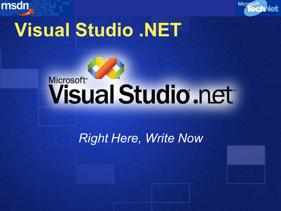 Visual Studio.NET Right Here, Write Now