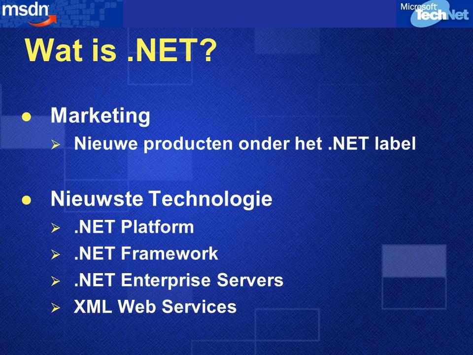 De Noodzaak van Integratie XML Web Services - Industrie standaard voor integratie Integratie binnen de firewall en met partners er buiten Integratie met zakenpartners