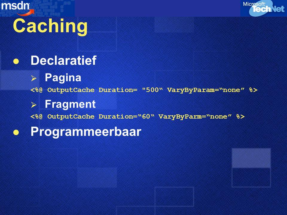 Caching Declaratief  Pagina  Fragment Programmeerbaar