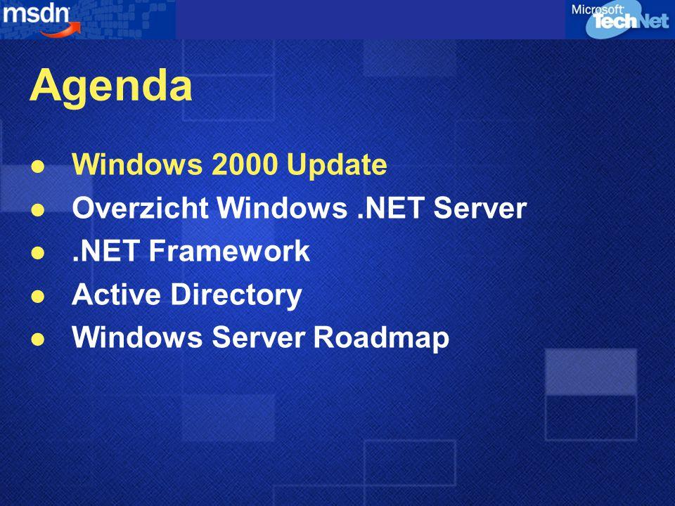 Windows 2000 Server Meer mogelijkheden Lagere TCO File en Print Servers Web Servers Applicatie Servers Communicatie Servers Infrastructuur Servers I2O, DFS HSM, Quota Beheer IIS 5.0 CPU Throttling NLBS 4 Node Clustering QOS, IPSec Terminal Services Active Directory, MUI, op Policy gebaseerd beheer