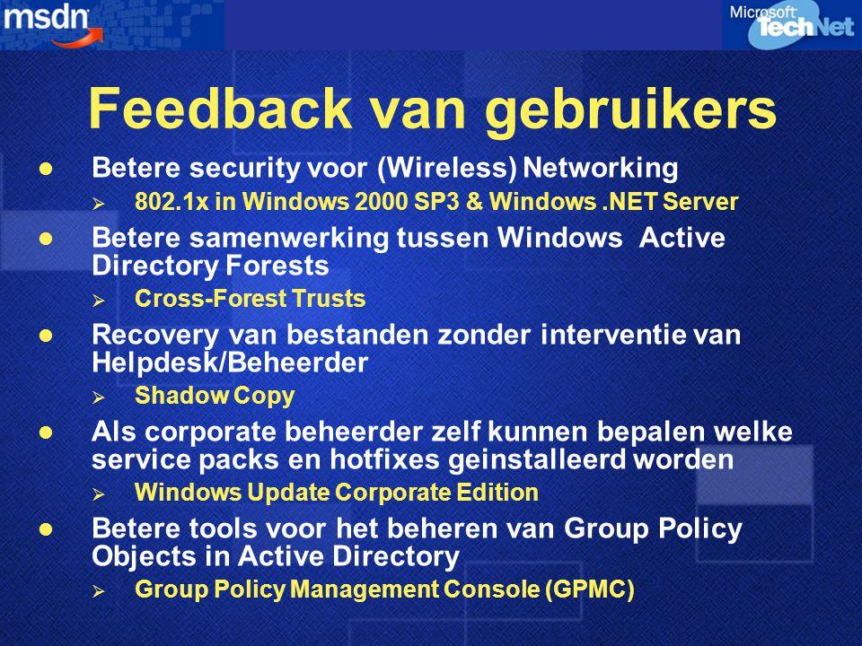 Windows.NET Server Family Toekomstige Investeringen  Samenwerking  Federated infrastructuur  Policy gedreven schaalbaarheid  Server personaliteiten Windows 2000 2000 2003 Toekomst .NET Framework  Standaard XML  64 bit ondersteuning  Application Security Framework  Betere Schaalbaarheid  IIS 6.0  8 Node clustering  Applicatie Beheer