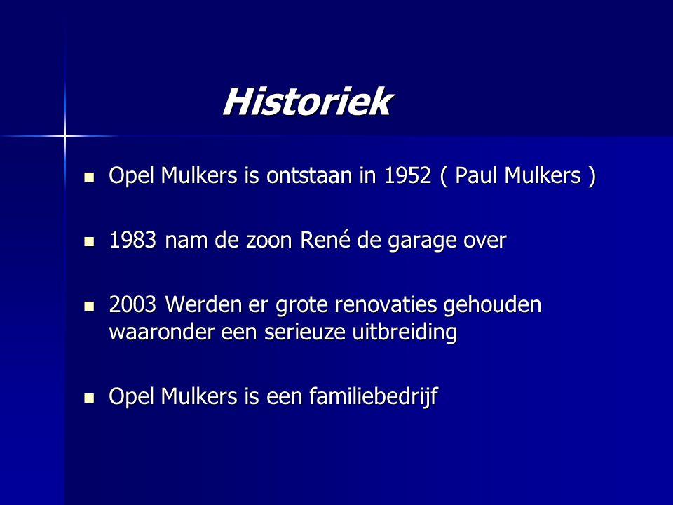Historiek Opel Mulkers is ontstaan in 1952 ( Paul Mulkers ) Opel Mulkers is ontstaan in 1952 ( Paul Mulkers ) 1983 nam de zoon René de garage over 1983 nam de zoon René de garage over 2003 Werden er grote renovaties gehouden waaronder een serieuze uitbreiding 2003 Werden er grote renovaties gehouden waaronder een serieuze uitbreiding Opel Mulkers is een familiebedrijf Opel Mulkers is een familiebedrijf