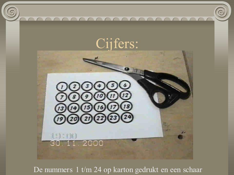 Cijfers: De nummers 1 t/m 24 op karton gedrukt en een schaar