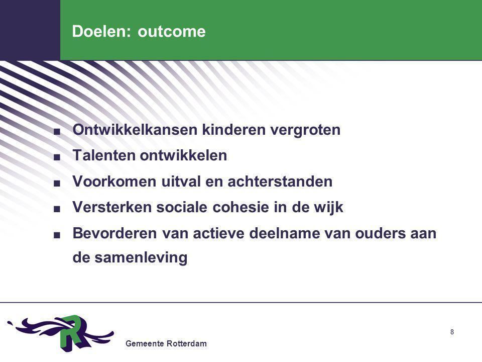 Gemeente Rotterdam 9 Doelen: output.Eenduidig pedagogisch klimaat.