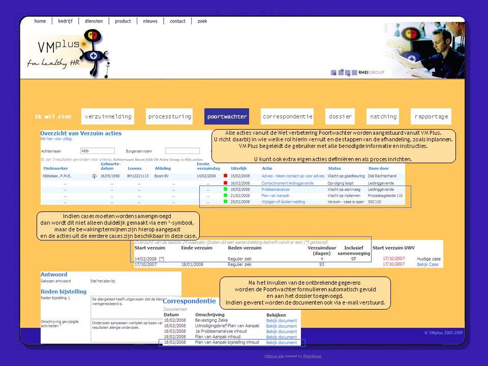 Alle acties vanuit de Wet verbetering Poortwachter worden aangestuurd vanuit VM Plus. U richt daarbij in wie welke rol hierin vervult en de stappen va