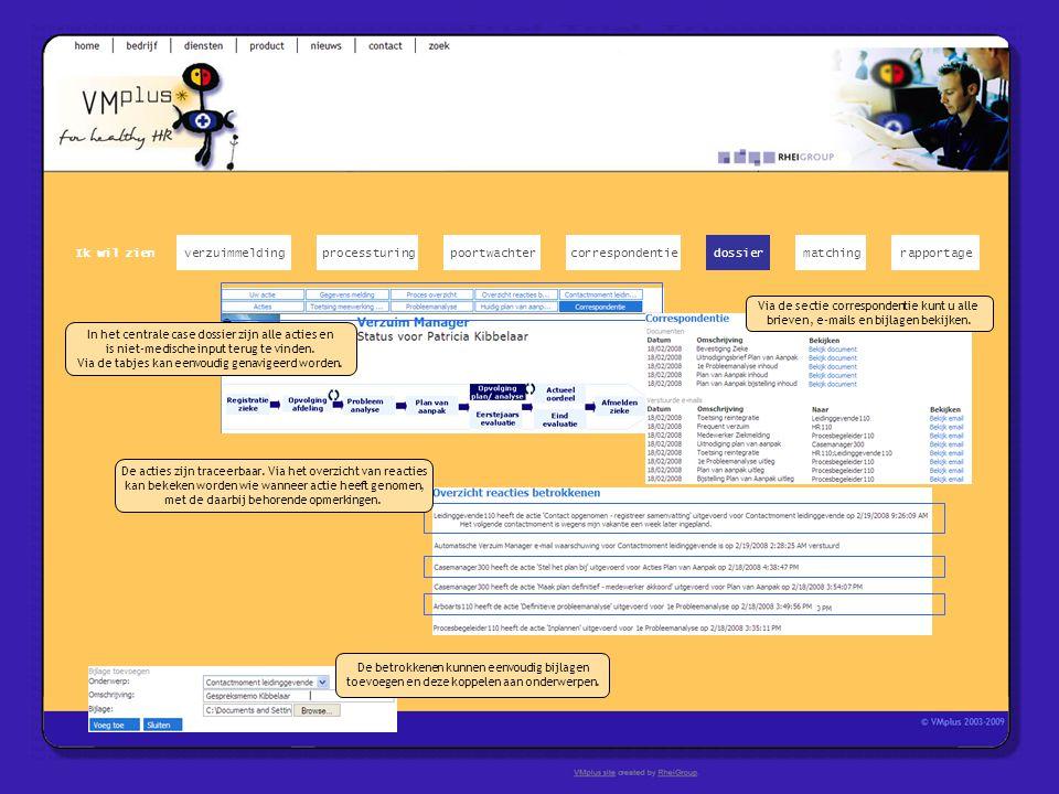 verzuimmeldingcorrespondentiepoortwachter Ik wil zien processturing teksten Via de sectie correspondentie kunt u alle brieven, e- mails en bijlagen be