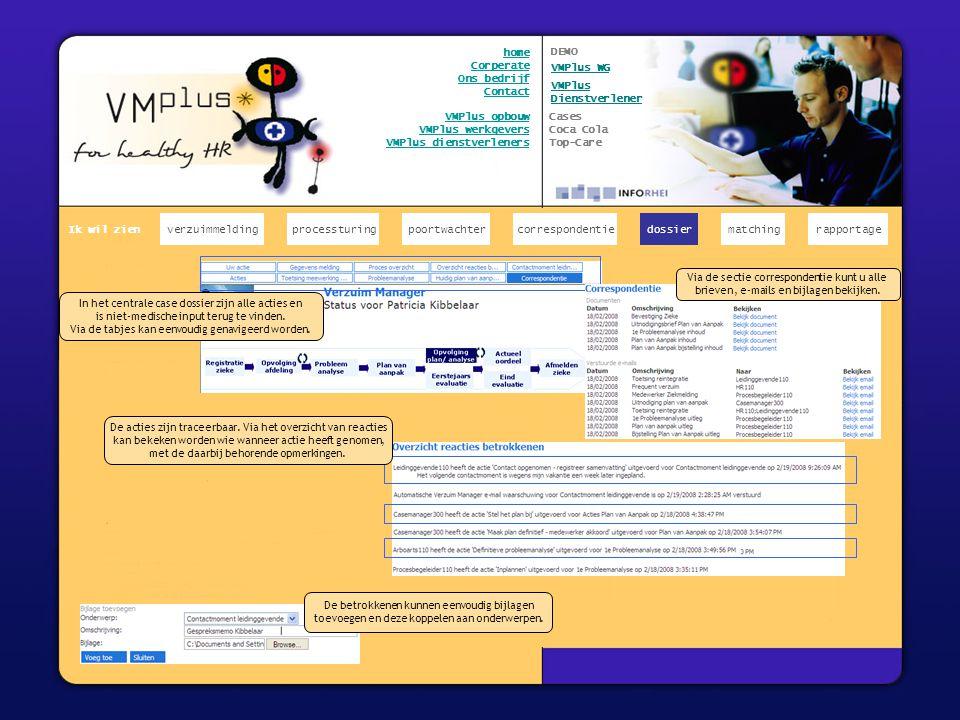x verzuimmeldingcorrespondentiepoortwachter Ik wil zien processturing home Corperate Ons bedrijf Contact VMPlus opbouw VMPlus werkgevers VMPlus dienstverleners teksten Via de sectie correspondentie kunt u alle brieven, e- mails en bijlagen bekijken.