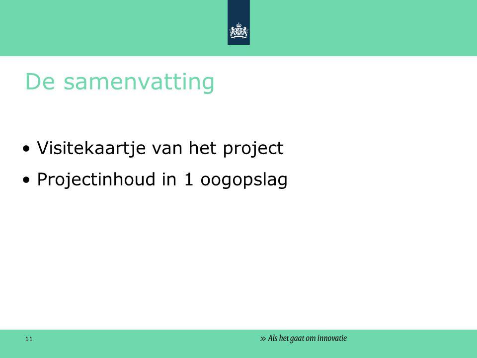 11 De samenvatting Visitekaartje van het project Projectinhoud in 1 oogopslag