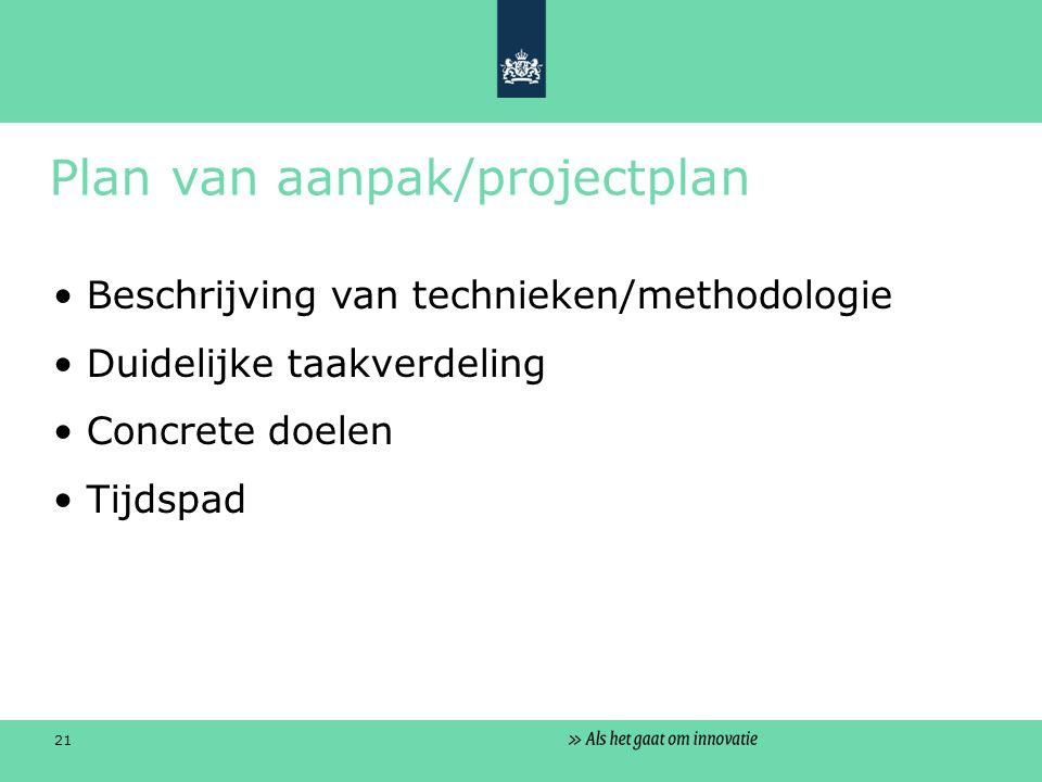21 Plan van aanpak/projectplan Beschrijving van technieken/methodologie Duidelijke taakverdeling Concrete doelen Tijdspad