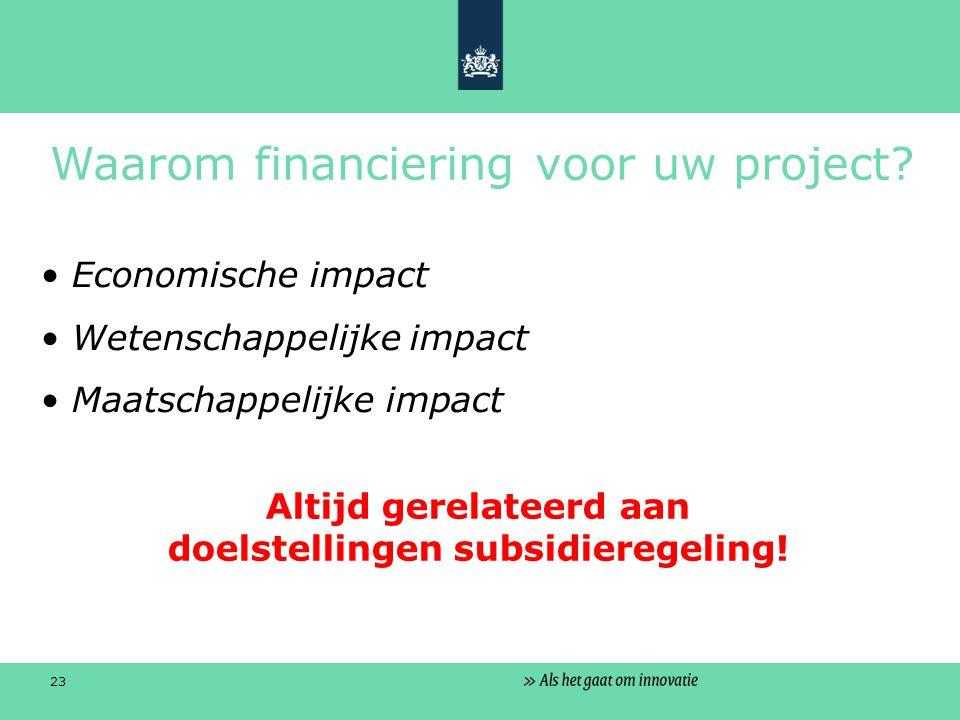 23 Waarom financiering voor uw project.