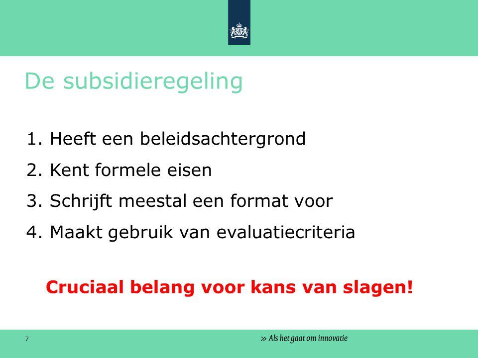 7 De subsidieregeling 1. Heeft een beleidsachtergrond 2.