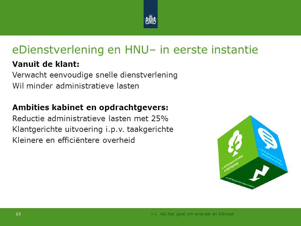 >> Als het gaat om energie en klimaat 13 eDienstverlening en HNU– in eerste instantie Vanuit de klant: Verwacht eenvoudige snelle dienstverlening Wil