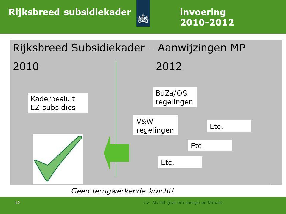 >> Als het gaat om energie en klimaat 19 Rijksbreed Subsidiekader – Aanwijzingen MP 20102012 Rijksbreed subsidiekader invoering 2010-2012 BuZa/OS regelingen V&W regelingen Etc.