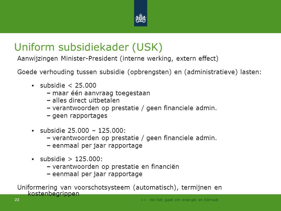 >> Als het gaat om energie en klimaat 22 Uniform subsidiekader (USK) Aanwijzingen Minister-President (interne werking, extern effect) Goede verhouding