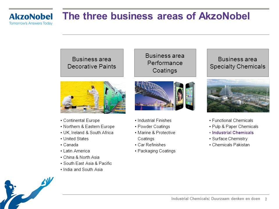 2 The three business areas of AkzoNobel Functional Chemicals Pulp & Paper Chemicals Industrial Chemicals Surface Chemistry Chemicals Pakistan Continen