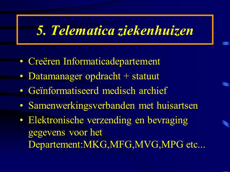 5. Telematica ziekenhuizen Creëren Informaticadepartement Datamanager opdracht + statuut Geïnformatiseerd medisch archief Samenwerkingsverbanden met h