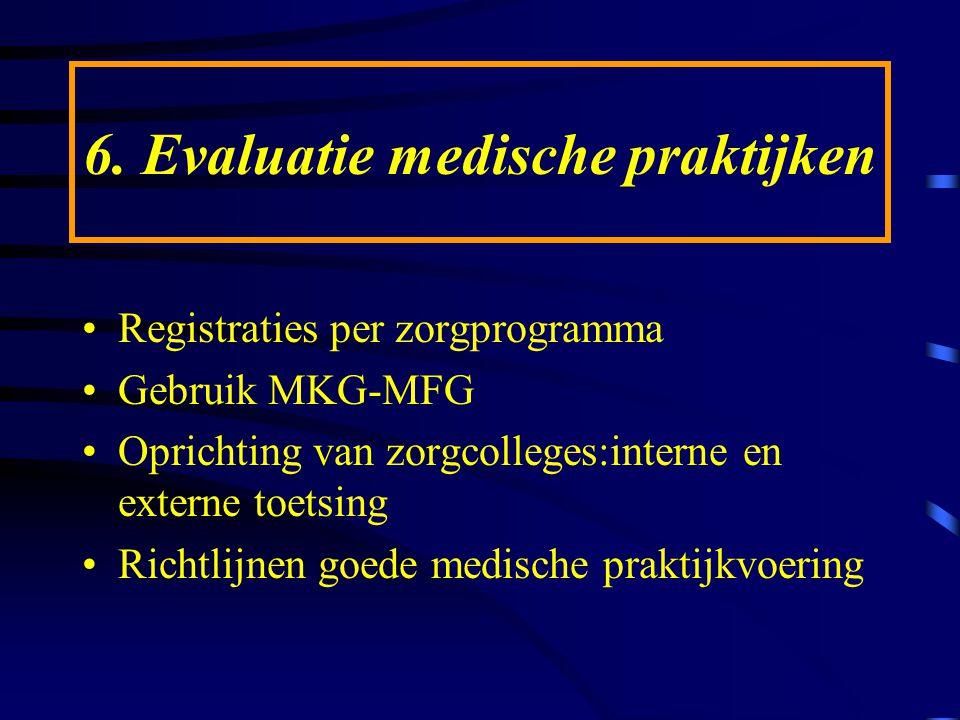6. Evaluatie medische praktijken Registraties per zorgprogramma Gebruik MKG-MFG Oprichting van zorgcolleges:interne en externe toetsing Richtlijnen go