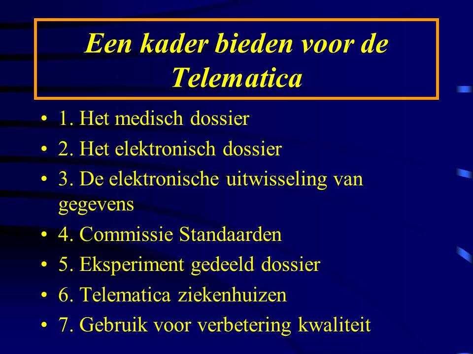 Een kader bieden voor de Telematica 1. Het medisch dossier 2. Het elektronisch dossier 3. De elektronische uitwisseling van gegevens 4. Commissie Stan