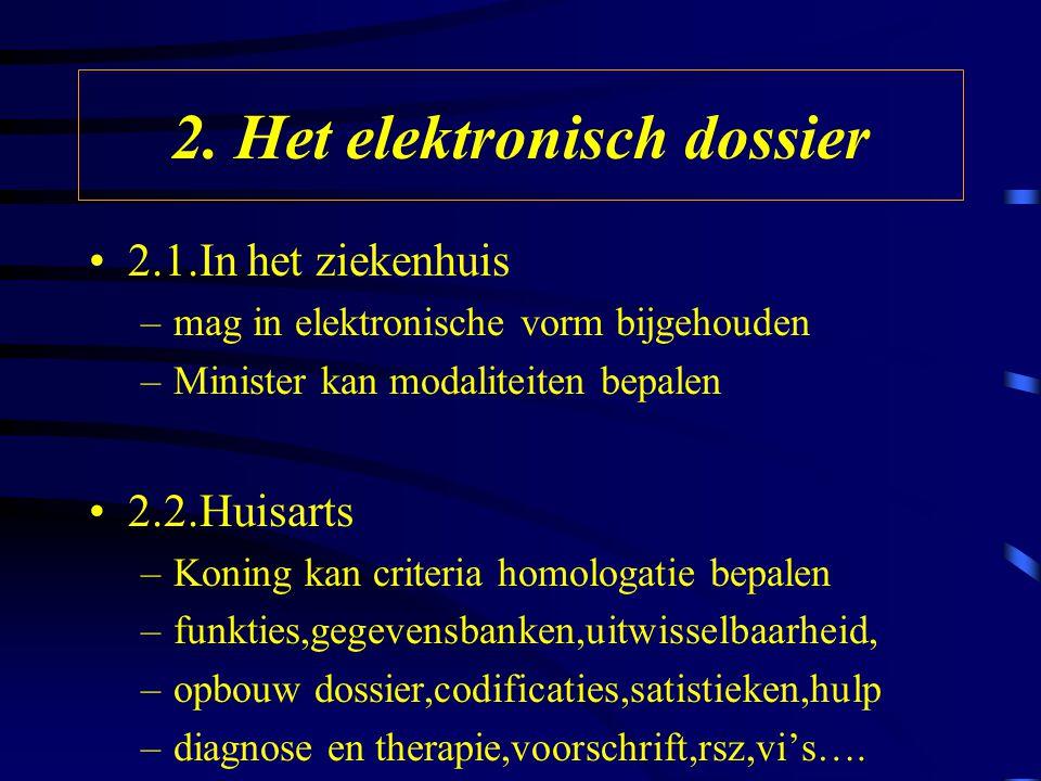 2. Het elektronisch dossier 2.1.In het ziekenhuis –mag in elektronische vorm bijgehouden –Minister kan modaliteiten bepalen 2.2.Huisarts –Koning kan c