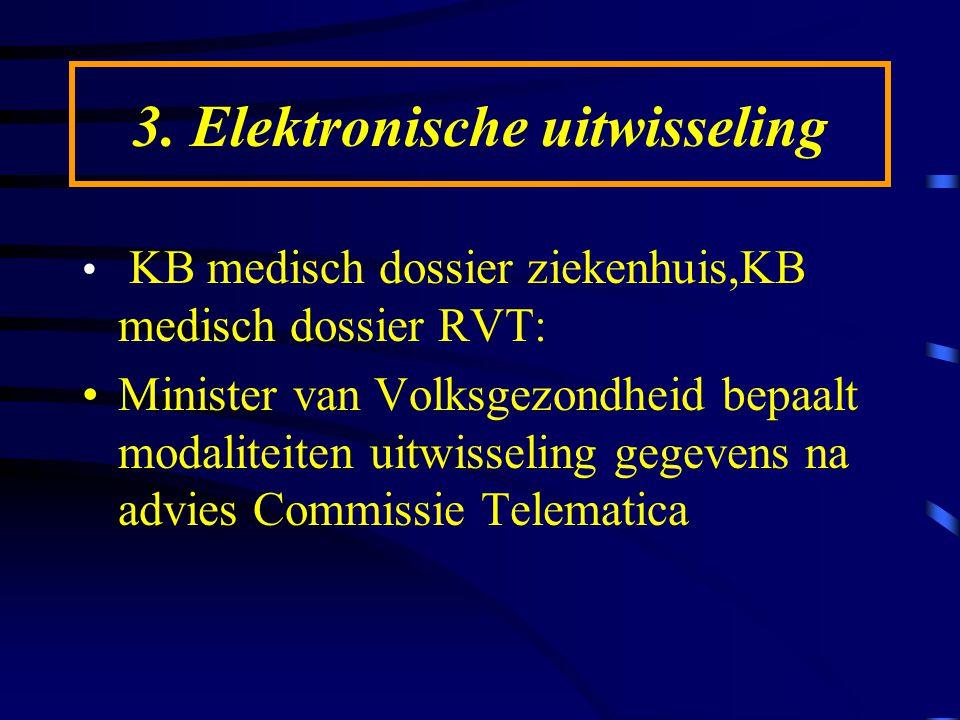 3. Elektronische uitwisseling KB medisch dossier ziekenhuis,KB medisch dossier RVT: Minister van Volksgezondheid bepaalt modaliteiten uitwisseling geg