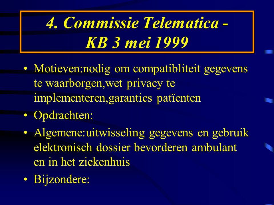 4. Commissie Telematica - KB 3 mei 1999 Motieven:nodig om compatibliteit gegevens te waarborgen,wet privacy te implementeren,garanties patïenten Opdra