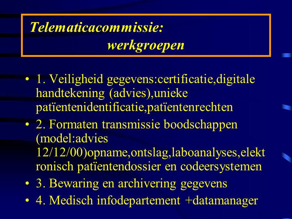 Telematicacommissie: werkgroepen 1. Veiligheid gegevens:certificatie,digitale handtekening (advies),unieke patïentenidentificatie,patïentenrechten 2.