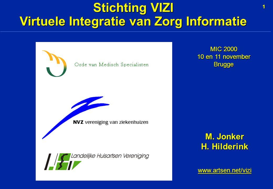 1 Stichting VIZI Virtuele Integratie van Zorg Informatie MIC 2000 10 en 11 november Brugge M.