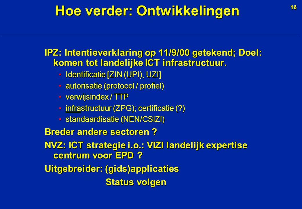 16 IPZ: Intentieverklaring op 11/9/00 getekend; Doel: komen tot landelijke ICT infrastructuur.