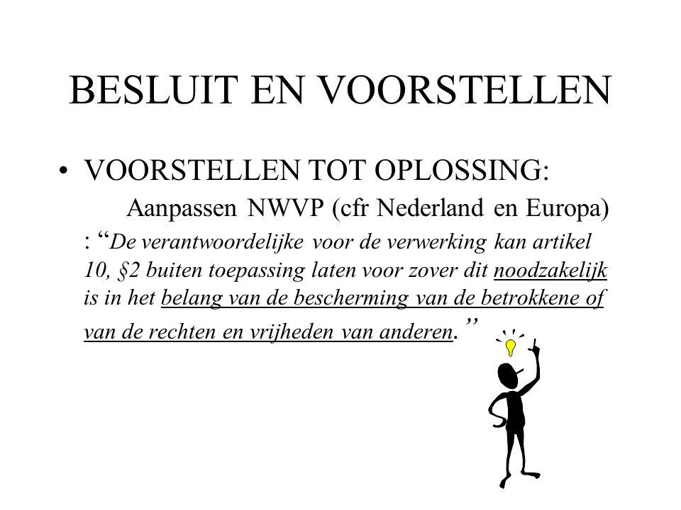 """BESLUIT EN VOORSTELLEN VOORSTELLEN TOT OPLOSSING: Aanpassen NWVP (cfr Nederland en Europa) : """" De verantwoordelijke voor de verwerking kan artikel 10,"""