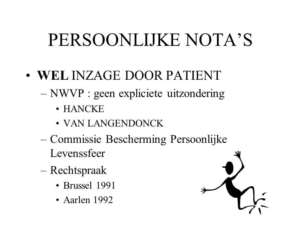 PERSOONLIJKE NOTA'S WEL INZAGE DOOR PATIENT –NWVP : geen expliciete uitzondering HANCKE VAN LANGENDONCK –Commissie Bescherming Persoonlijke Levenssfee